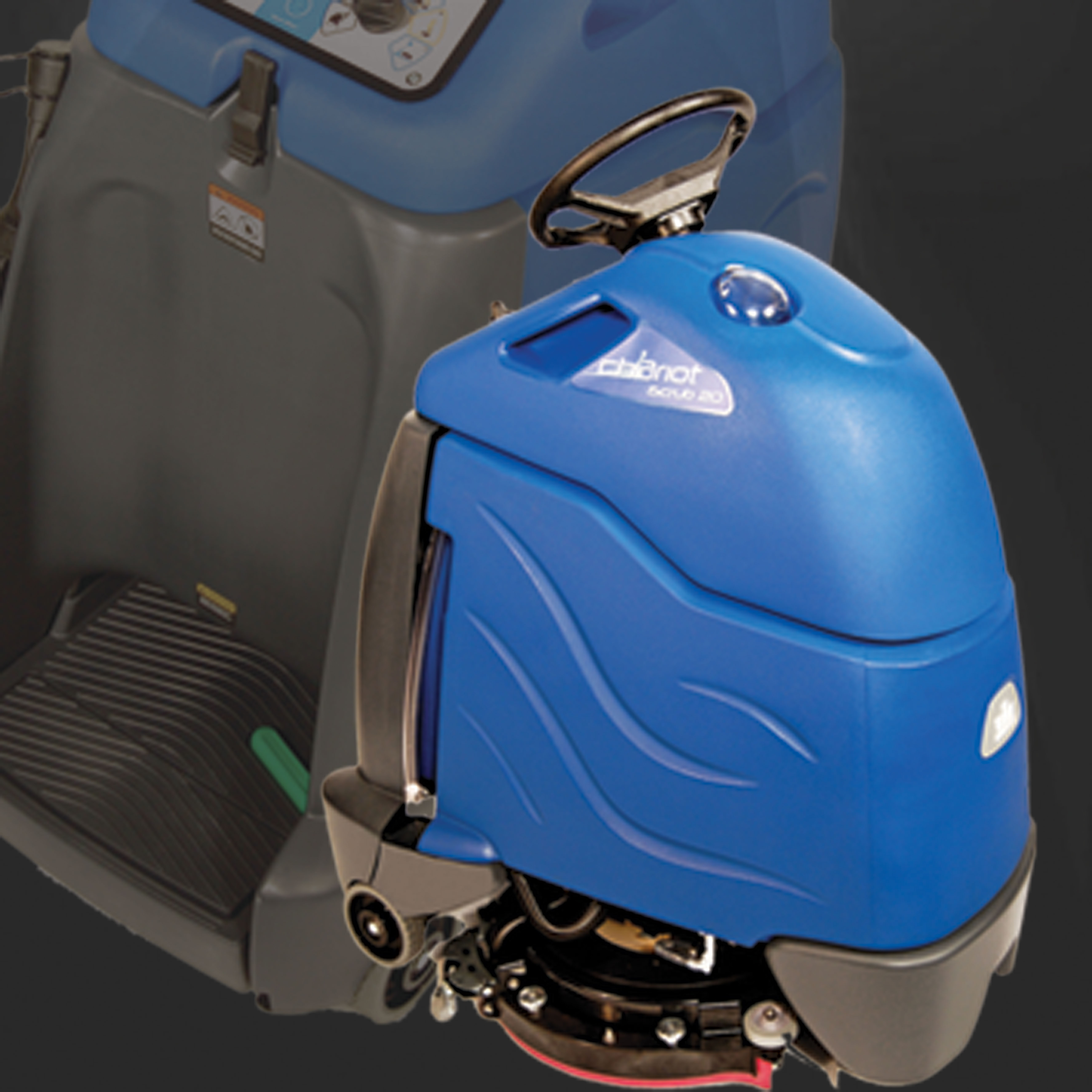 Stand-on floor scrubber